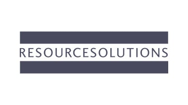 Resource solution logo on blue background